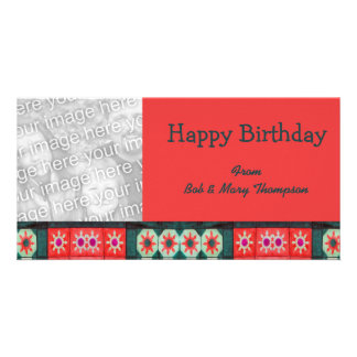 Cerceta do vermelho do feliz aniversario cartão com foto
