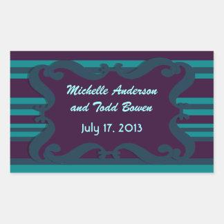 Cerceta e casamento listrado azul escuro adesivos retangular