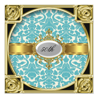 Cerceta e damasco clássico branco alguma festa de convite quadrado 13.35 x 13.35cm