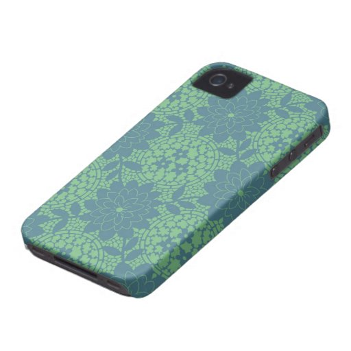 cerceta e damasco floral azul da estrutura capas para iPhone 4 Case-Mate