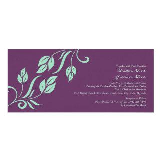 Cerceta e folhas florais roxas que Wedding o Convite 10.16 X 23.49cm