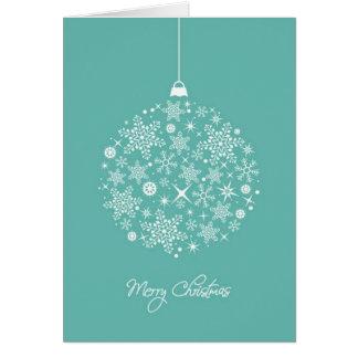Cerceta e ornamento branco no cartão de Natal
