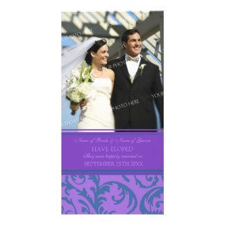 Cerceta e roxo do cartão com fotos do anúncio do E Cartão Com Foto