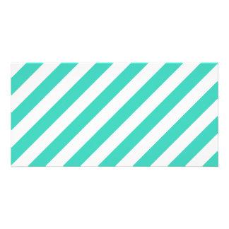 Cerceta e teste padrão diagonal branco das listras cartão