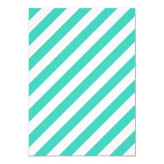 Cerceta e teste padrão diagonal branco das listras convite 11.30 x 15.87cm