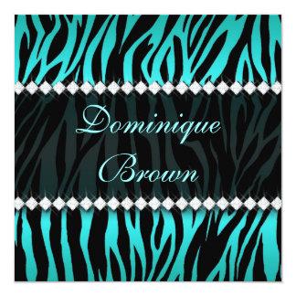 Cerceta elegante a zebra Jeweled convida Convite Quadrado 13.35 X 13.35cm