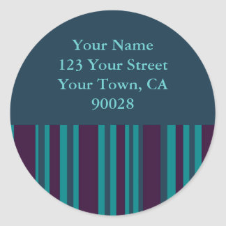 cerceta escura e etiquetas de endereço listradas adesivo