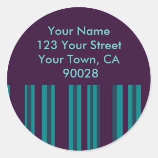 Cerceta escura e etiquetas de endereço listradas adesivo em formato redondo