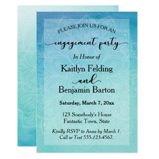 Cerceta & festa de noivado azul da mandala da convite 12.7 x 17.78cm