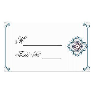 Cerceta floral do medalhão e PlaceCard Wedding Cartão De Visita