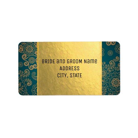 Cerceta & ouro retros europeus etiqueta de endereço