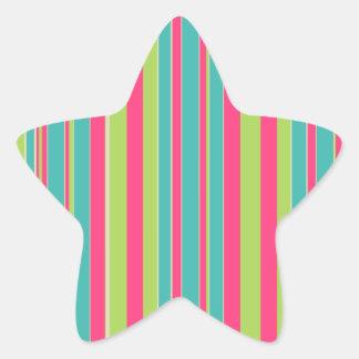 Cerceta verde e rosa listrados adesivo em forma de estrela