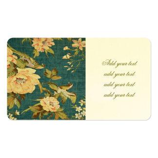 cerceta, vintage, floral, pássaro, victorian, cartão de visita