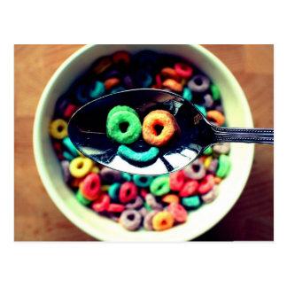 Cereal de pequeno almoço do smiley cartão postal