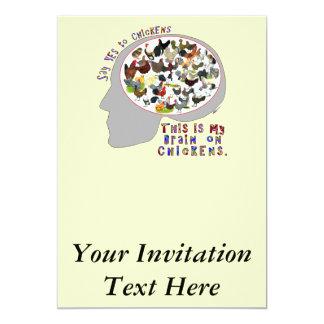 Cérebro em galinhas convite personalizado