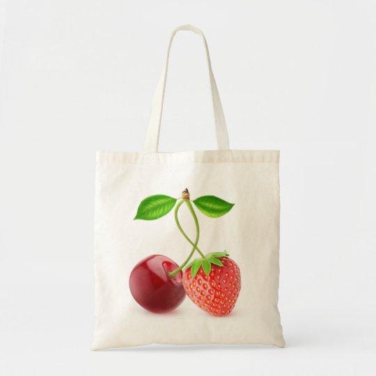 Cereja e morango junto bolsa tote