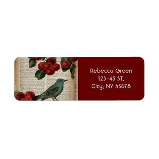 cereja vermelha botânica retro do pássaro francês etiqueta endereço de retorno