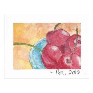 Cerejas na bacia azul - cartão (aguarela)