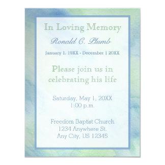 Cerimonia comemorativa azul & verde do funeral | convite 10.79 x 13.97cm