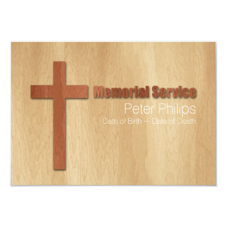 Cerimonia comemorativa cristã cartão Wood2 Convite 8.89 X 12.7cm