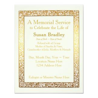Cerimonia comemorativa dourada do quadro do convite 10.79 x 13.97cm