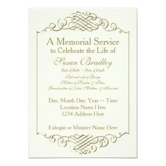 Cerimonia comemorativa dourada elegante de w 2 do convite 11.30 x 15.87cm