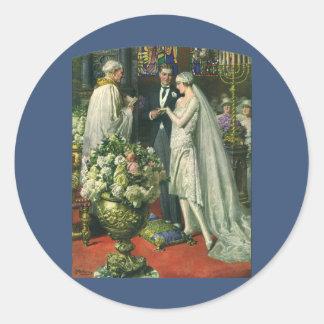 Cerimónia de casamento da igreja do vintage; adesivos em formato redondos