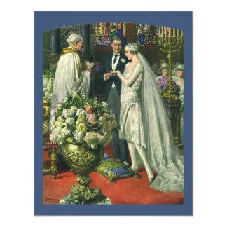 Cerimónia de casamento da igreja do vintage; convite personalizado
