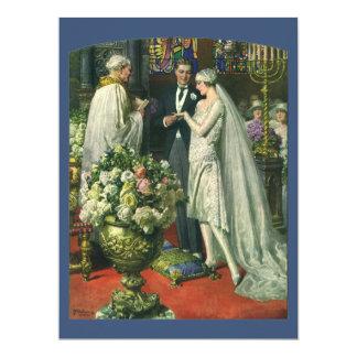 Cerimónia de casamento da igreja do vintage; convite 16.51 x 22.22cm