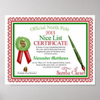 Certificado agradável oficial da lista de Papai No Pôster