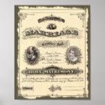 Certificado de casamento do vintage 1800's impressão