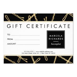 Certificado de presente chique do cabeleireiro dos convite 11.30 x 15.87cm
