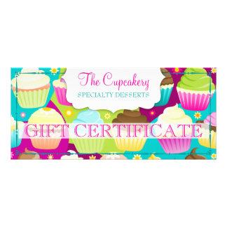 Certificado de presente colorido dos cupcakes 10.16 x 22.86cm panfleto