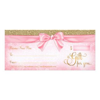 Certificado de presente cor-de-rosa do brilho de 10.16 x 22.86cm panfleto
