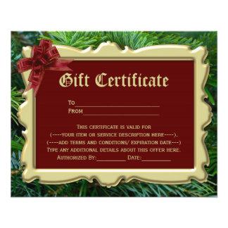 Certificado de presente de época natalícia do modelo de panfleto