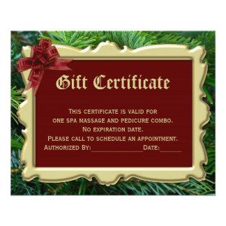 Certificado de presente de época natalícia do panfleto