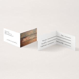 Certificado de presente de madeira do falso