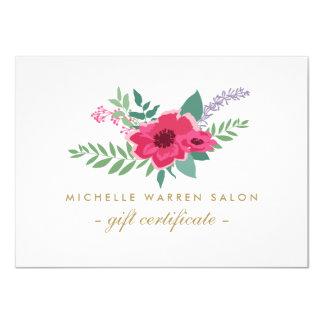 Certificado de presente floral cor-de-rosa convite 11.30 x 15.87cm