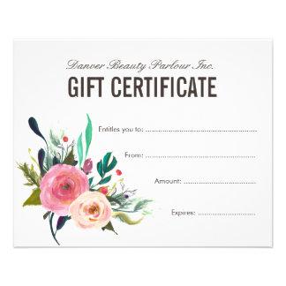 Certificado de presente floral pintado do salão de flyer 11.43 x 14.22cm