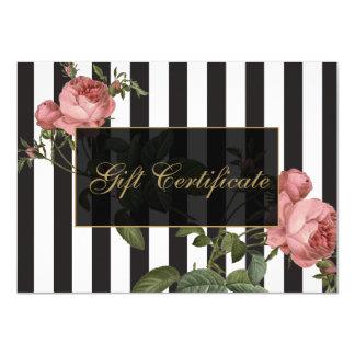 Certificado de presente listrado floral do salão convite 11.30 x 15.87cm