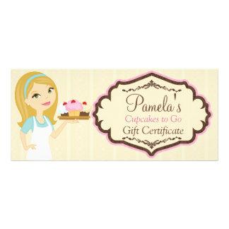 Certificado de presente louro 1 do cupcake D12 do 10.16 X 22.86cm Panfleto