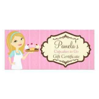 Certificado de presente louro 2 do cupcake D12 do 10.16 X 22.86cm Panfleto