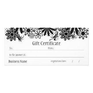 Certificado de presente pontilhado preto e branco 10.16 x 22.86cm panfleto