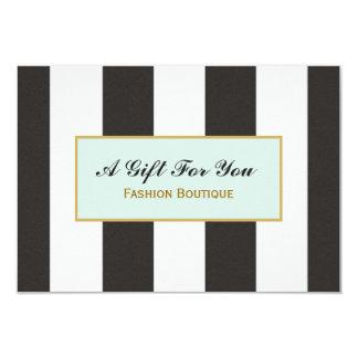 Certificado de presente preto e branco do boutique convite 8.89 x 12.7cm