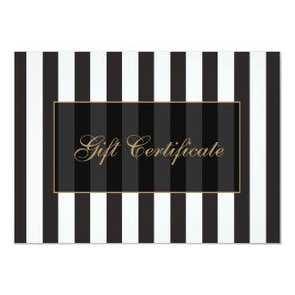 Certificado de presente preto e branco do salão de convites