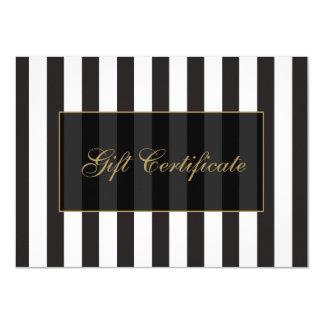 Certificado de presente preto e branco do salão de convite 11.30 x 15.87cm