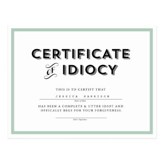 Certificado do Aqua de //do cartão da desculpa do Cartão Postal