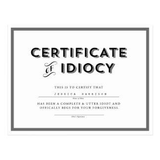 Certificado do cinza de //do cartão da desculpa do cartão postal