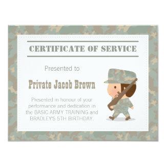 Certificado do exército do obrigado do serviço convite 10.79 x 13.97cm