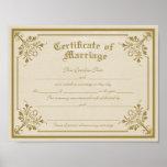 Certificado do impressão da arte do casamento